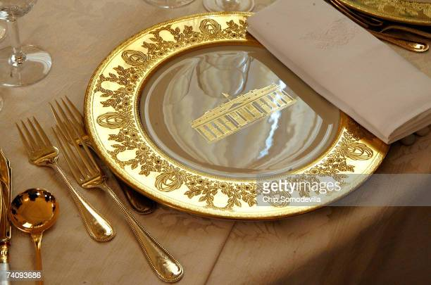 The Clinton China will be used for the state dinner in honor of Queen Elizabeth II in the State Dining room on the State Floor of the White House May...