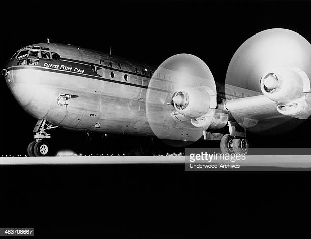 The 'Clipper Flying Cloud', a Pan American Airline Boeing 377 Stratocruiser, ready for takeoff, late 1940s.
