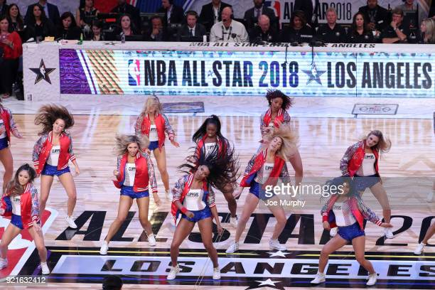 the LA Clippers cheerleaders perform during the NBA AllStar Game as a part of 2018 NBA AllStar Weekend at STAPLES Center on February 18 2018 in Los...