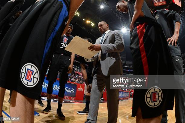 the LA Clippers huddle around Head Coach Doc Rivers of the LA Clippers during the game against the Chicago Bulls on February 3 2018 at STAPLES Center...
