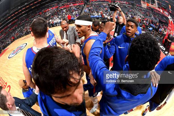 The LA Clippers huddles up against the Houston Rockets on October 21 2018 at Staples Center in Los Angeles California NOTE TO USER User expressly...