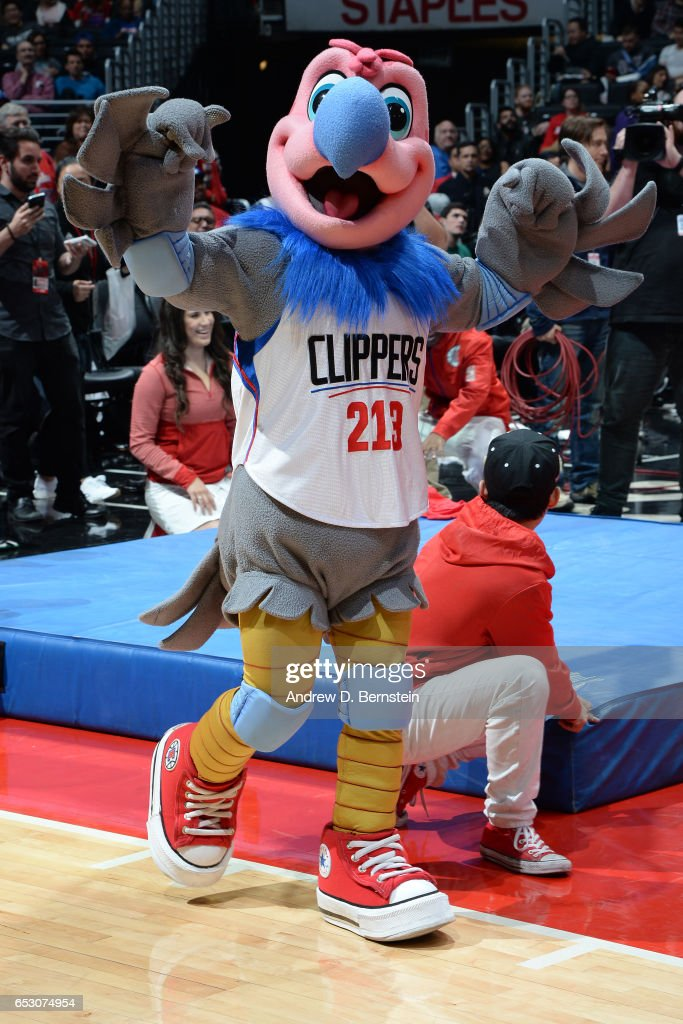The LA Clippers mascot entertains the crowd during the game against the San Antonio Spurs on February 24, 2017 at STAPLES Center in Los Angeles, California.
