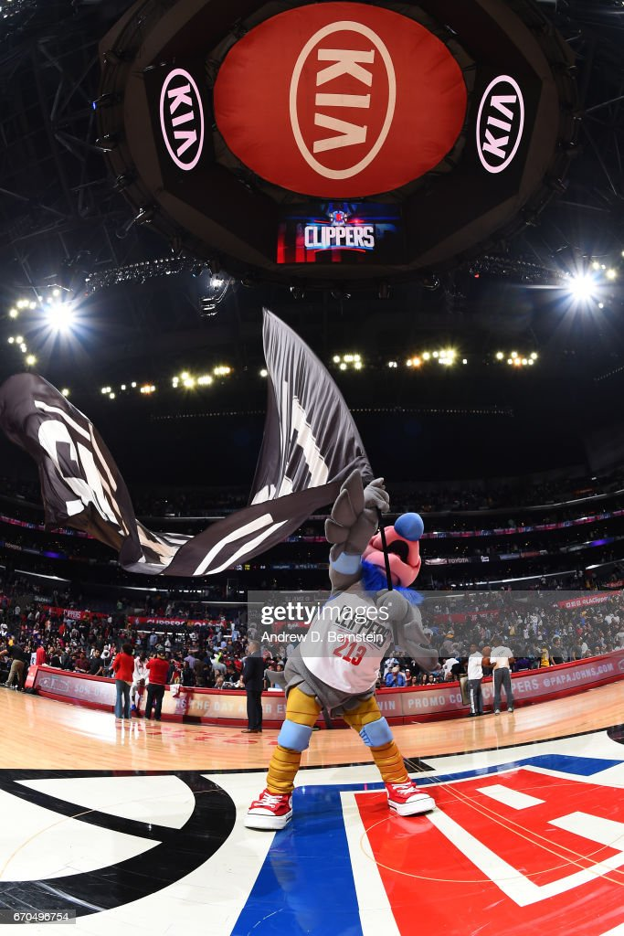 The LA Clippers mascot waves the team flag after the game against the Los Angeles Lakers on April 1, 2017 at STAPLES Center in Los Angeles, California.