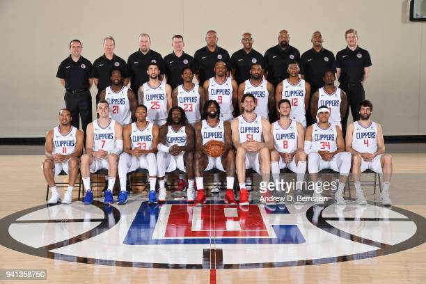 The LA Clippers pose for their official team photo on April 2 2018 at the LA Clippers Training Center in Los Angeles California NOTE TO USER User...