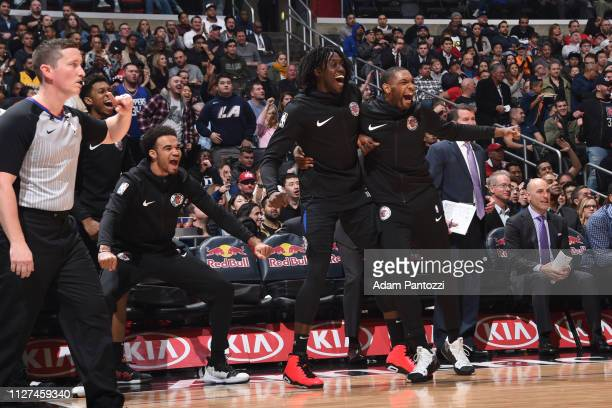 The LA Clippers react during a game against the Dallas Mavericks on February 25 2019 at STAPLES Center in Los Angeles California NOTE TO USER User...