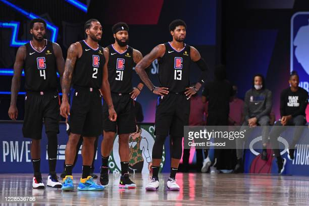 The LA Clippers stand on the court during Game Seven of the Western Conference Semifinals of the NBA Playoffs against the Denver Nuggets on September...