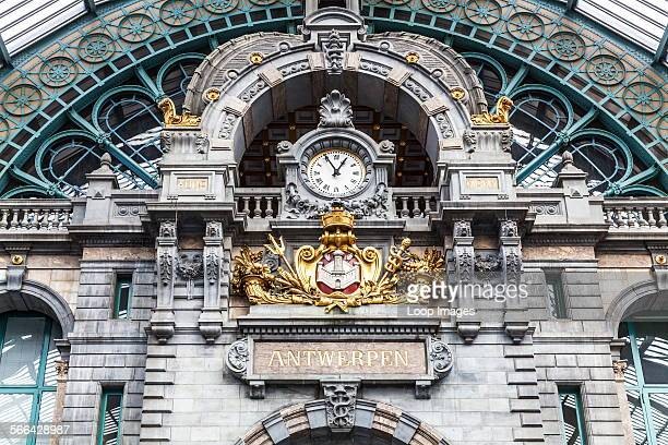 The clock above the entrance hall of the Antwerpen Centraal railway station