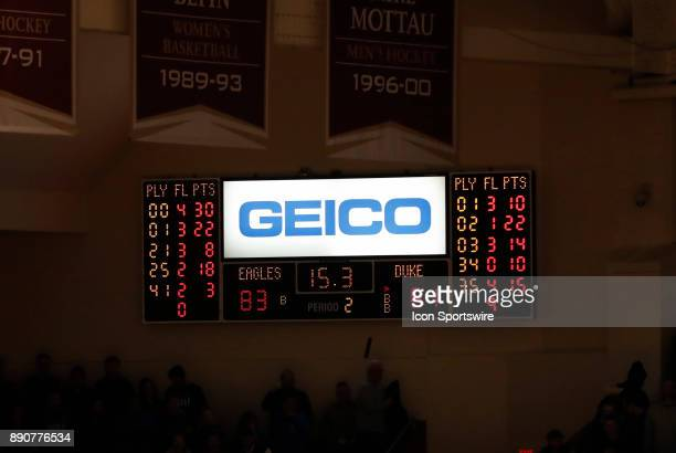 The clock during a game between the Boston College Eagles and the Duke University Blue Devils on December 9 at Conte Forum in Chestnut Hill...