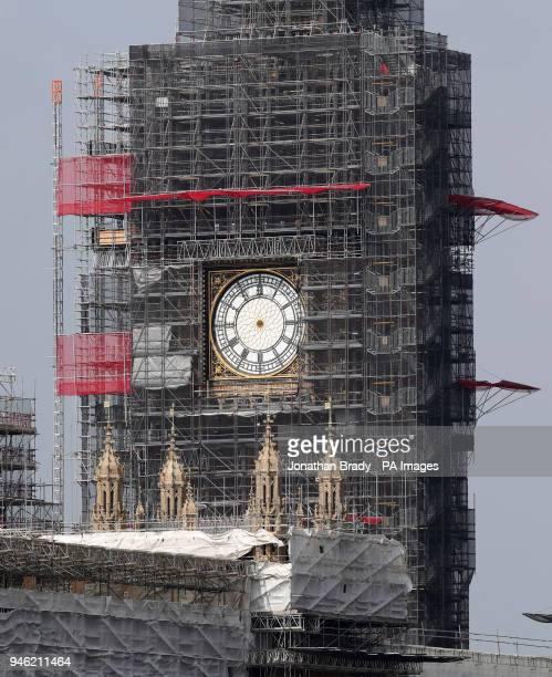 The clock hands of Elizabeth Tower at the Palace of Westminster have been removed for maintenance and restoration work as the tower is undergoing a...