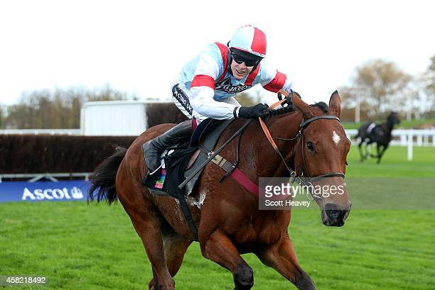 The Clock Leary ridden by Aidan Coleman wins the Ascot Underwriting Novices' Limited Handicap Steeple Chase Race at Ascot Racecourse on November 1...
