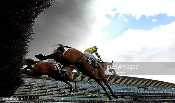 The Clock Leary ridden by Aidan Coleman with Garrahalish ridden by Charlie Poste during the Ascot Underwriting Novices' Limited Handicap Steeple...