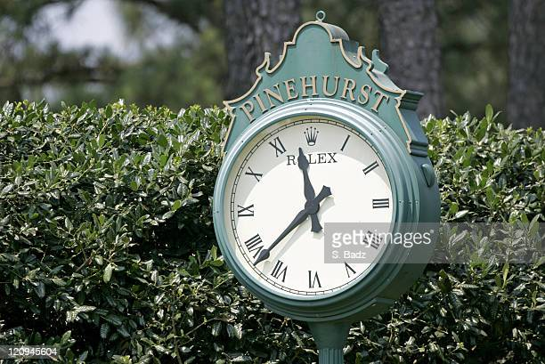 The clock near the first hole during the final round of the 2005 U.S. Open Golf Championship at Pinehurst Resort course 2 in Pinehurst, North...