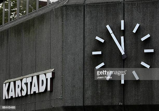 The clock of a Karstadt department store is seen on June 12 2009 in Hamburg Germany German retail and tourism company Arcandor AG filed for...