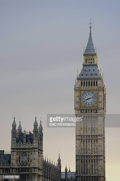 The clock of Big Ben indicates 8h30 PM the time that bells all through out the country were to ring to welcome the begining of the London 2012...