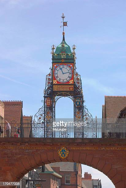 The clock on the East Gate of the city walls Chester Cheshire UK