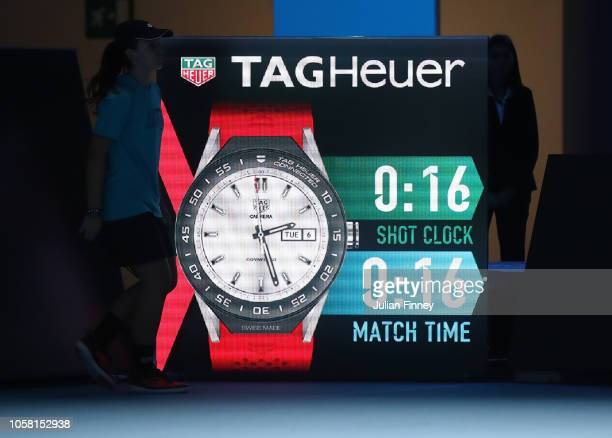 The clock shot and match time is shown in the match between Stefanos Tsitsipas of Greece and Jaume Munar of Spain during Day One of the Next Gen ATP...