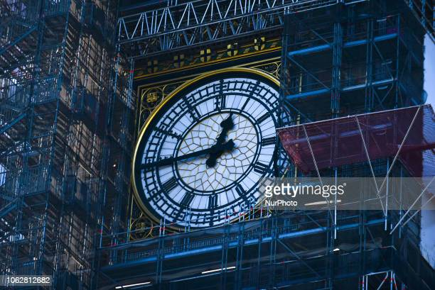 The clock the Elizabeth Tower, commonly known as Big Ben, emerges from the scaffolding as the refurbishment works continue, on November 17, 2018 in...