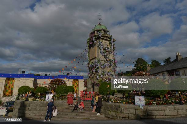 The Clock Tower and The Square, decorated with flowers in the village of Enniskerry in County Wicklow. There are only two more days until filming...