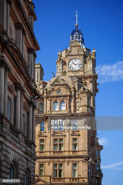 the clock tower of the balmoral, edinburgh, scotland, united kingdom - balmoral hotel stock pictures, royalty-free photos & images