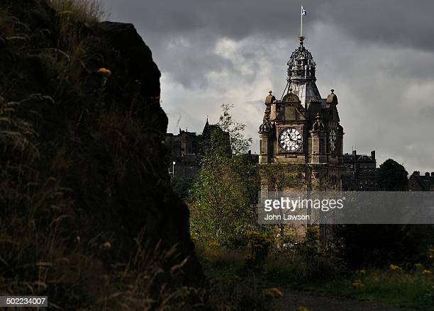 CONTENT] The clock tower of the Balmoral Hotel in Edinburgh Scotland Taken from Calton Hill the image is taken against a moody grey sky The Balmoral...