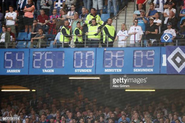 The clock which Hamburger SV display inside the stadium showing how long they have been in the Bundesliga is seen after the Bundesliga match between...
