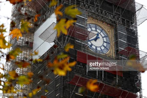 The clockface of Big Ben is pictured during ongoing renovations to the Tower and the Houses of Parliament, in central London on January 7, 2020.