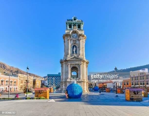 the clocktower of pachuca, mexico (reloj monumental de pachuca) - pachuca de soto stock photos and pictures