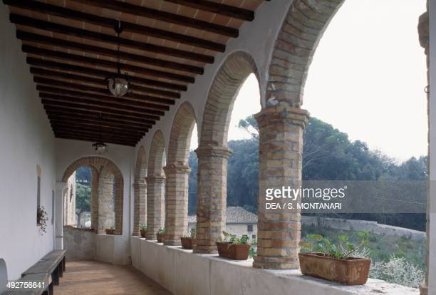 The cloister of Santa Croce or Santa Chiara convent, 15th century, Montefalco, Umbria, Italy.