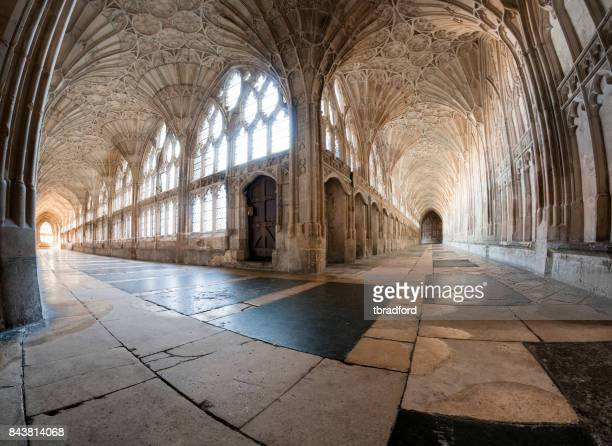 the cloisters in gloucester cathedral, england - southwest england stock photos and pictures