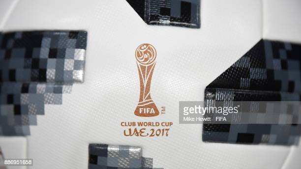 The close up of the official matchball positioned in the tunnel ahead of the FIFA Club World Cup UAE 2017 first round match between Al Jazira and...