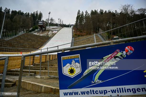 The closed competition area of the mens FIS Ski Jumping World Cup is pictured after the approaching storm Sabine has forced the organizers to cancel...