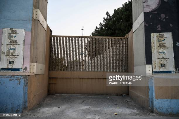 The closed entrance gate of the US embassy is pictured after the US evacuated its personnel in Kabul on August 15, 2021.