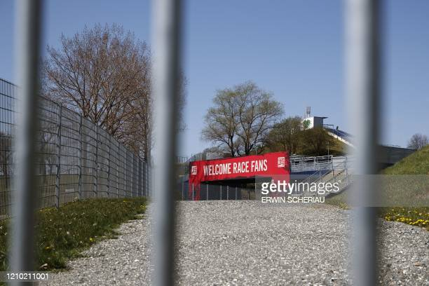 The closed entrance of the Red Bull Ring race track is photographed in Spielberg southern Austria on April 17 2020 The Formula 1 motorsports 2020...