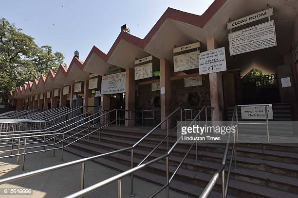 The closed entry gates of the National Zoological Park as Delhi zoo has been temporarily shut after the death of nine birds on October 19 2016 in New...