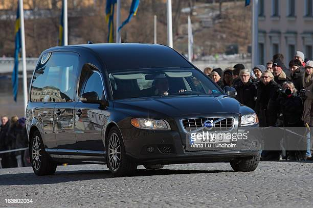 The closed hearse outside the Royal Palace at the funeral of Princess Lilian Of Sweden on March 16, 2013 in Stockholm, Sweden.