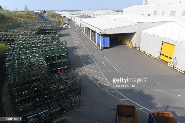 The closed JaguarLand Rover production plant is seen in Solihull central England on April 9 2020 The new coroavirus has struck at the heart of the...