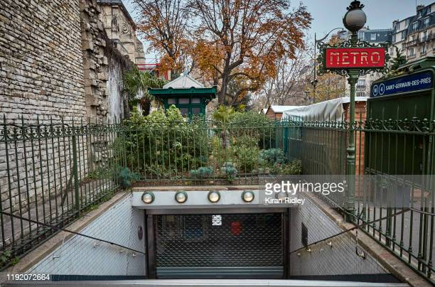 The closed Metro station of Saint Germain des Pres as a nationwide strike grips Paris severely effecting transport across the city including closures...