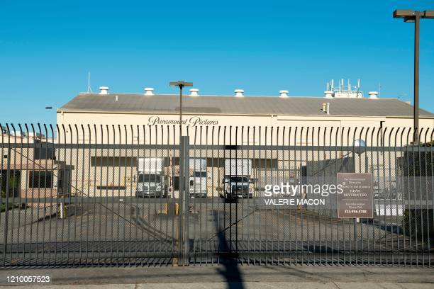 """The closed Paramount Studio is seen amid the coronavirus pandemic on April 15, 2020 in Los Angeles, California. - US economic activity """"contracted..."""