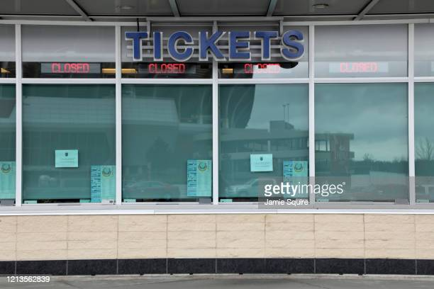 The closed ticket window of Kauffman Stadium home of the Kansas City Royals is seen as it sits empty as Major League Baseball has shut down...