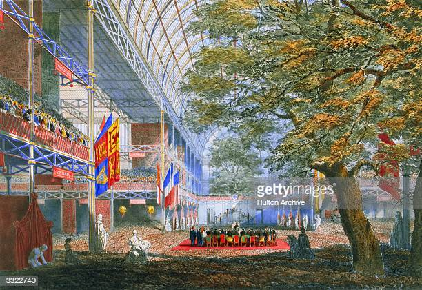 The closing ceremony at the Great Exhibition in Crystal Palace the glass and iron building designed by Joseph Paxton at Hyde Park London Elm trees...