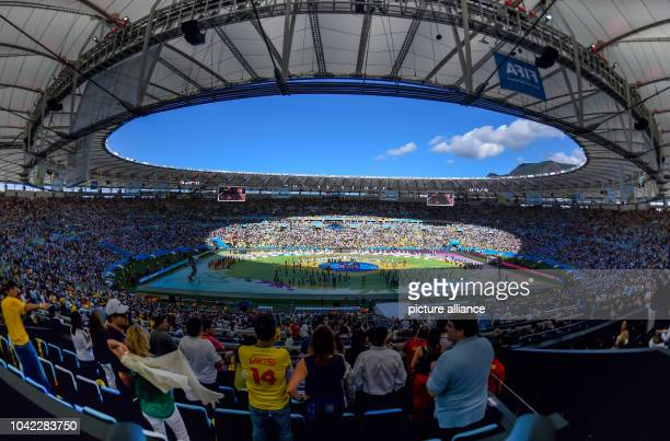 The closing ceremony during the FIFA World Cup 2014 final soccer match between Germany and Argentina at the Estadio do Maracana in Rio de Janeiro,...