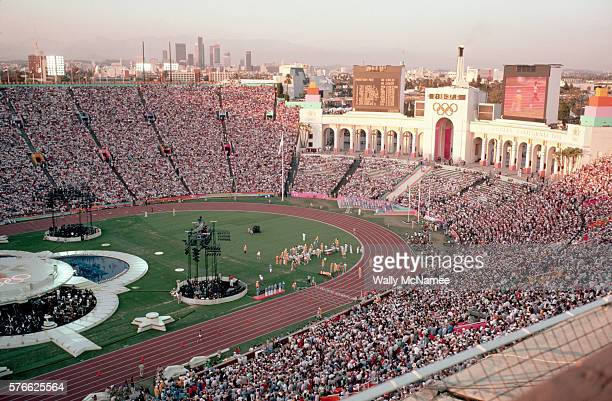 The closing ceremony for the 1984 Summer Olympic games begins at the conclusion of the Men's Marathon