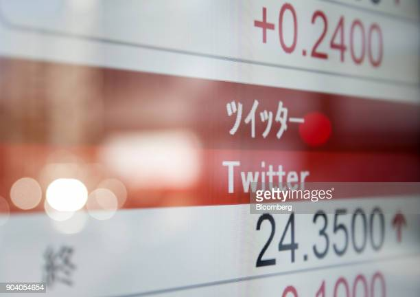The closing price of Twitter Inc is displayed on a monitor outside a securities firm in Tokyo Japan on Friday Jan 12 2018 Japanese stocks declined...