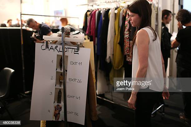 The clothes rail for 'Charlotte' is seen backstage ahead of the Dimitri show during the Mercedes-Benz Fashion Week Berlin Spring/Summer 2016 at...