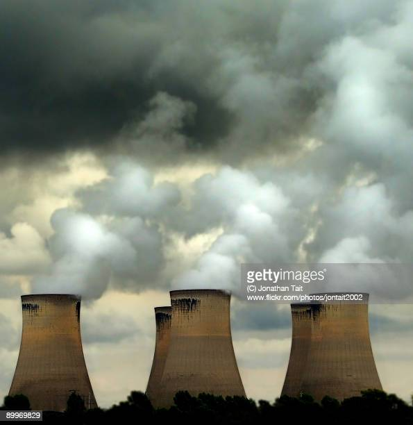 the cloud factory - coal fired power station stock photos and pictures