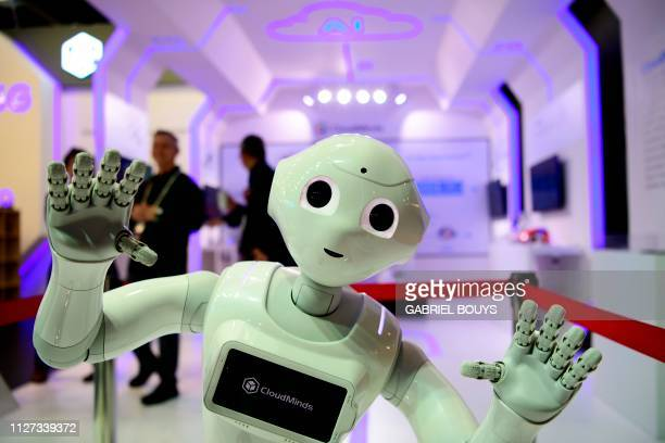 TOPSHOT The Cloud Pepper robot by CloudMinds stands at the Mobile World Congress in Barcelona on February 25 2019 Phone makers will focus on foldable...