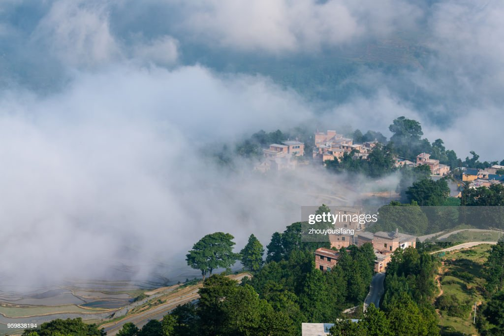 The cloud sea and the terraced fields and village : Stock-Foto