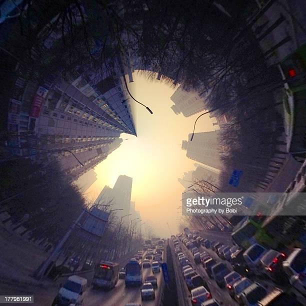 the clouded beijing city - fish eye foto e immagini stock