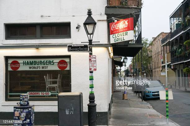 The Clover Grill diner on Bourbon Street and Dumaine Street in the French Quarter of New Orleans is closed amid restrictions in place to help deal...