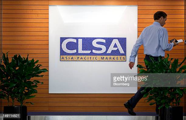 The CLSA AsiaPacific Markets logo is displayed at the company's offices in Hong Kong China on Monday July 23 2012 Citic Securities Co China's largest...